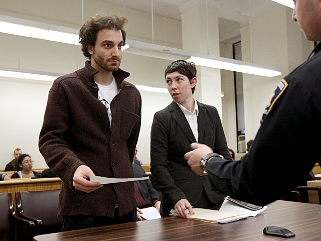 An Occupy Wall Street protester appears in Manhattan Criminal Court on Jan. 20th, 2012.