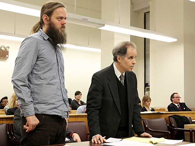 Protester Sebastian Rogers appears in Manhattan Criminal Court on Jan. 20th, 2012.