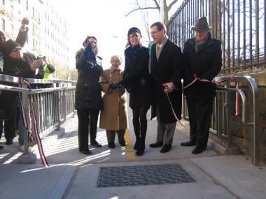 Assembly Member Micah Kellner (second from right) next to DOT Commissioner Janette Sadik-Khan and with Council woman Jessica Lappin (on far left) at a ribbon-cutting for the E. 78th Street bridge this month. Kellner is rumored to be considering Lappin's seat.