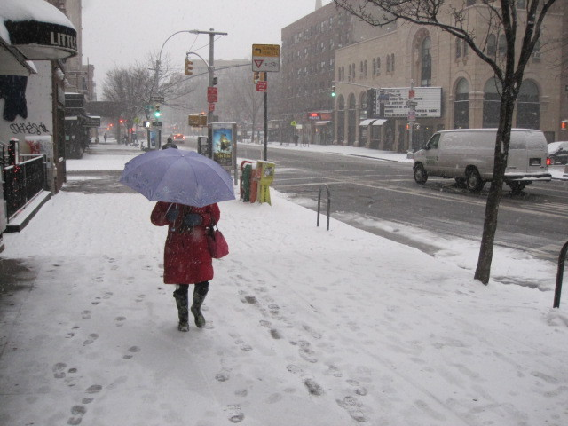 <p>A woman walking along Second Avenue in the East Village uses an umbrella to take cover from the snow on Sat., Jan. 21, 2012.</p>