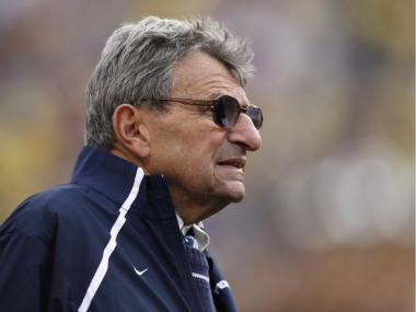 Head coach Joe Paterno of the Penn State Nittany Lions looks on during the 2010 Capital One Bowl against the LSU Tigers at the Florida Citrus Bowl Stadium on January 1, 2010 in Orlando, Florida. Penn State won 19-17.
