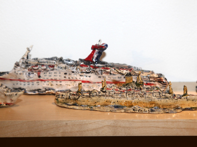Melted cruise ships — one of the many works on display at the Outsider Art Fair.