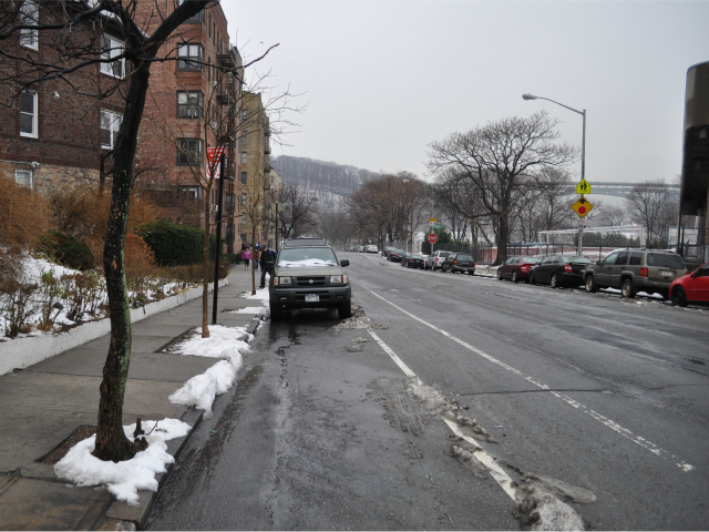 Approximately 32 feet of parking was lost when the Department of Transportation installed a no standing sign on the southwest corner of West 218th Street and Park Terrace West.
