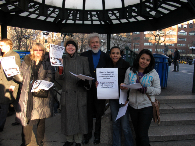 Parents and teachers from Washington Irving High School gathered in Union Square to drum up support for their endangered school.