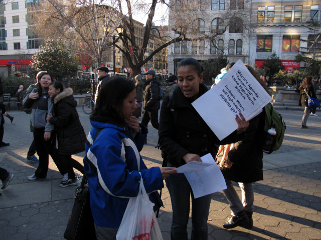 Lizbeth Colin, 32, (at right) is the mother of a freshman at Washington Irving. She collected signatures for a petition on Wednesday, Jan. 25, 2012.