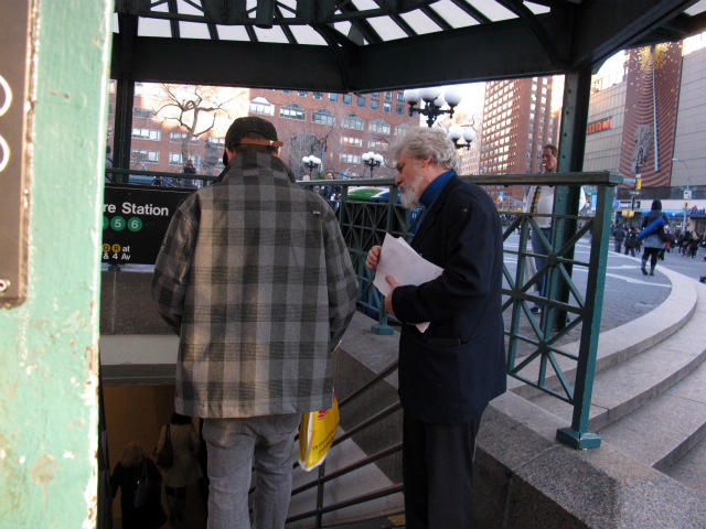 The advocates gathered around a subway entrance in Union Square, urging passersby to help them save their school.