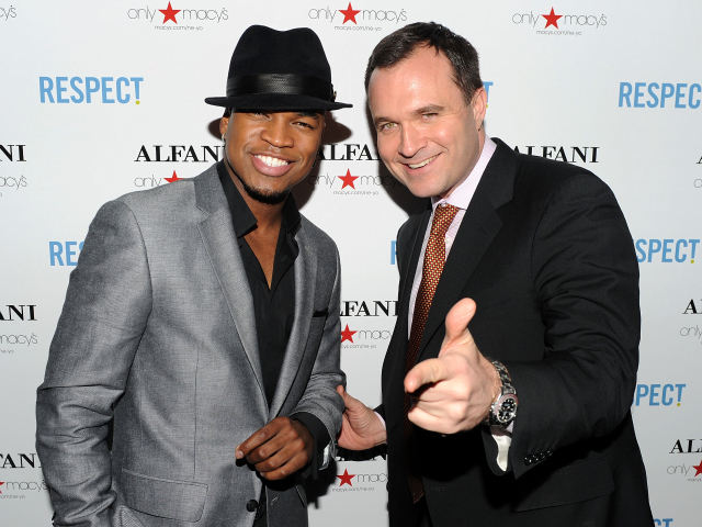 R&B singer/songwriter Ne-Yo and Good Day New York anchor Greg Kelly attend a listening party for NeYo's new song on February 1, 2010 in New York City.