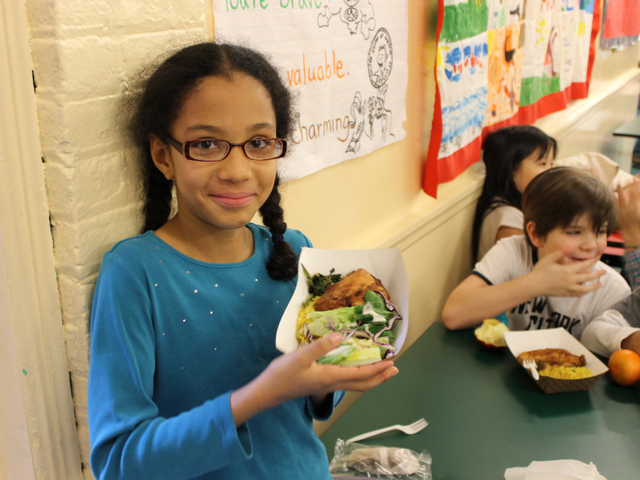 <p>P.S. 11 students get a Mediterranean chicken dish in their cafeteria.</p>