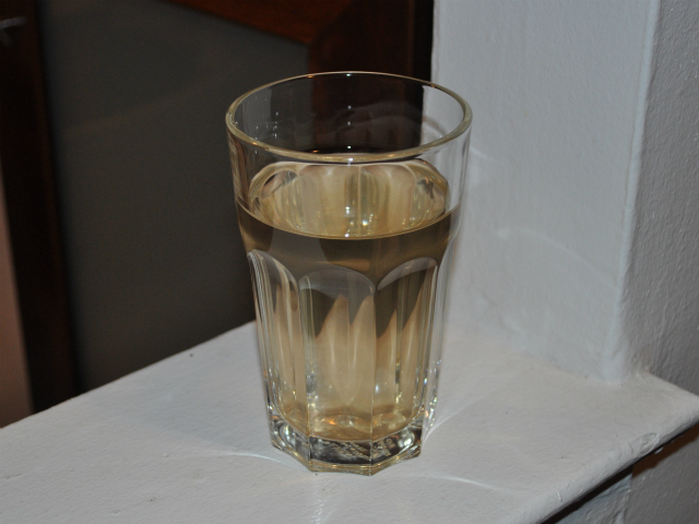 The Keithley family drank distilled water when their water supply ran brown on Tuesday, Jan. 24, 2012.