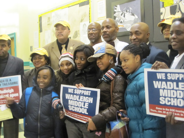 <p>State Sen. Bill Perkins and Rev. Michael Walrond of First Corinthian Baptist Church spoke out against the phaseout of Wadleigh&#39;s middle school.</p>