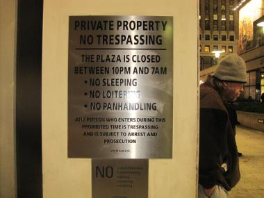 Loitering is technically prohibited in the plaza space.