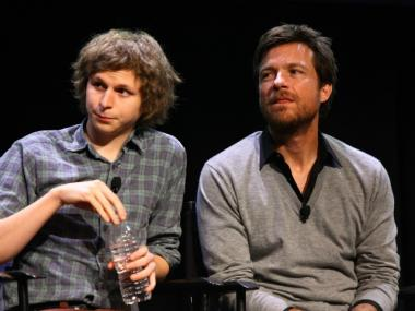Michael Cera and Jason Bateman attend The 2011 New Yorker Festival: 'Arrested Development' Panel at Acura at SIR Stage 37 on October 2, 2011 in New York City.