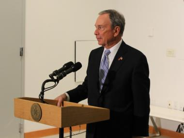 Mayor Michael Bloomberg discussed a new NYPD policy banning cops from wearing clothing with the department's logo.