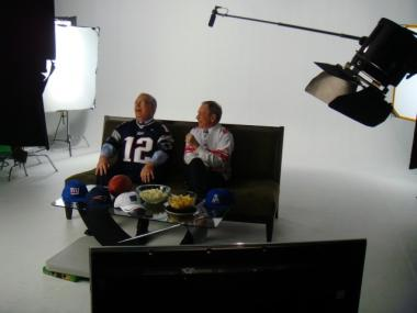 Mayor Michael Bloomberg and Boston's Mayor Menino on the set of their Super Bowl ad for Mayors Against Illegal Guns.