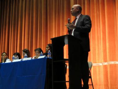 Senior Deputy Chancellor Shael Polakow-Suransky gave a presentation about the possible closure of Washington Irving High School to a fiery crowd of parents, teachers and students on Tuesday, Jan. 31, 2012.