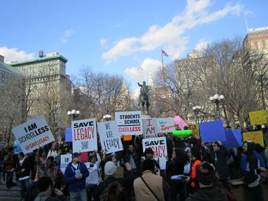 Nearly 100 students gathered in Union Square on Weds., Feb. 1, 2012, to ask the Department of Education to spare the school from closure.
