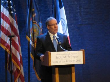 Manhattan Borough President Scott Stringer during his State of the Borough speech Thursday night.