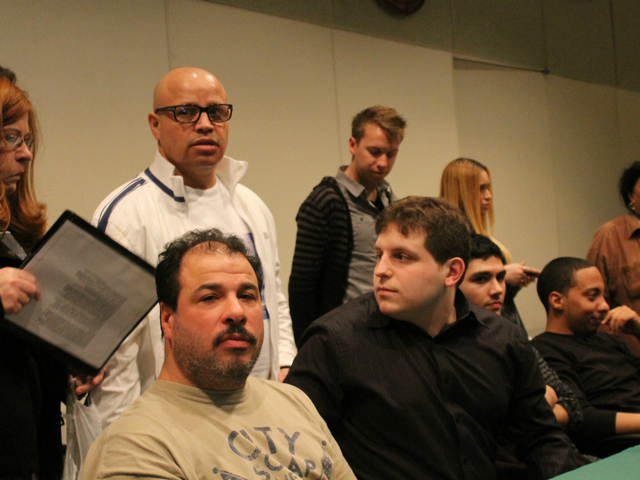 Brandon Romero's supporters at a Community Board 4 meeting on Feb. 1.