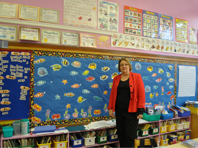 <p>Principal Cynthia Chory stands in a classroom at P.S. 187, a zoned school in District 6.</p>