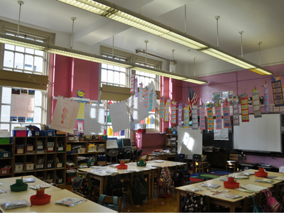 <p>A brightly painted classroom at P.S. 187 in District 6.</p>