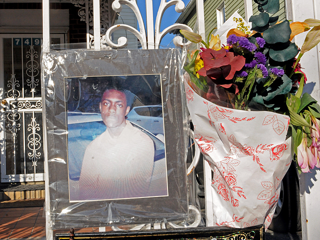 <p>A makeshift memorial in front of Ramarley Graham&#39;s home at 749 E. 229th St. in the Bronx.</p>
