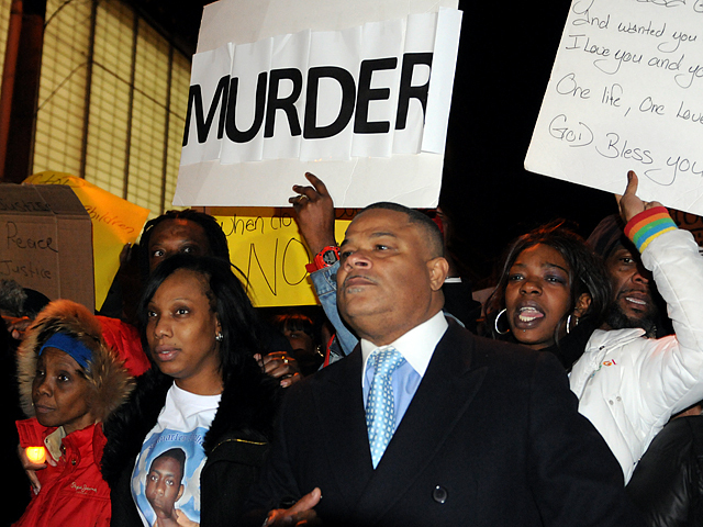 <p>The grandmother and mother (l-r) of Ramarley Graham march to the 47th precinct on Feb. 6, 2012.</p>