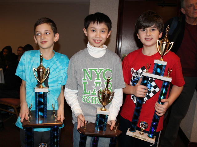 <p>Three children tied for the top honor at the New York City chess championships: Maury Ahram, Spencer Ha and Maxwell Beem.</p>