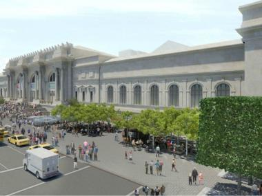 A rendering showing bird's-eye view of the Metropolitan Museum of Art's proposed Fifth Avenue plaza redesign.