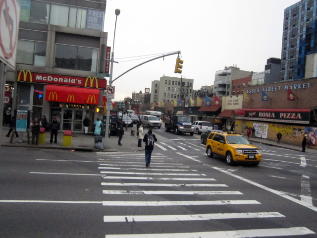 The intersection of Delancey and Essex streets will be easier to cross under the DOT's plan, which would expand the sidewalk out into the street.