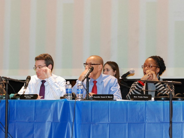 <p>Schools Chancellor Dennis Walcott remained cool and collected throughout the raucous hearing.</p>