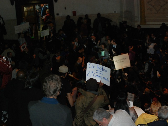 More than 2,000 people attended the meeting to protest the closures.