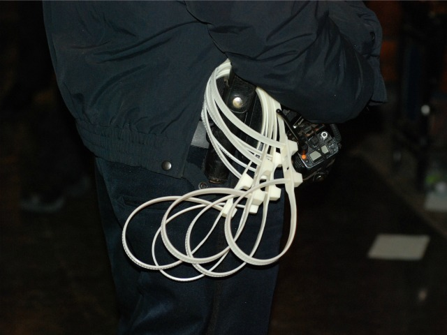 Police carried plastic handcuffs in case of problems.