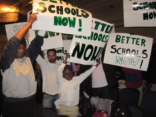<p>More than a dozen of those in the audience were there to support the DOE&#39;s efforts to close schools they say aren&#39;t working.</p>