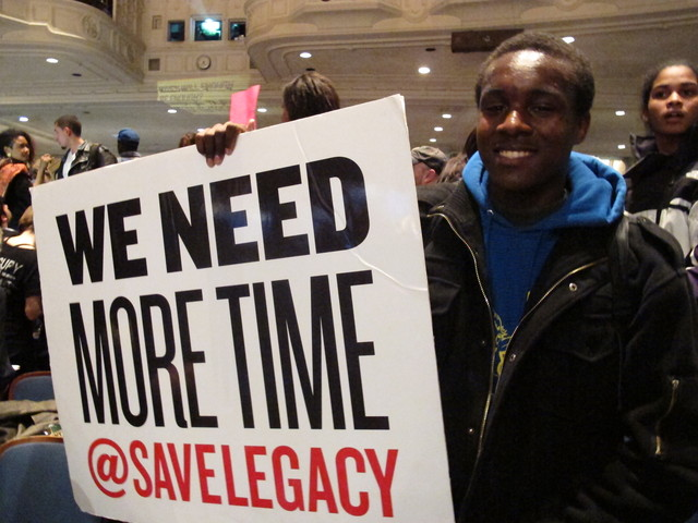<p>Nathaniel Kemp is a senior at Legacy High School and came to the PEP meeting on Thursday, Feb. 9, 2012, to lend his support for saving his school.</p>