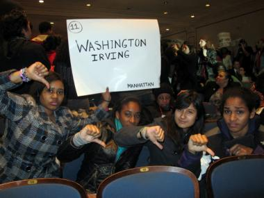 From left: Seniors Elizabeth Maddox, Veronique Bennett, Jennifer Diaz and Sonia Appan came to the PEP meeting on Feb. 9, 2012, to protest the closure of Washington Irving.