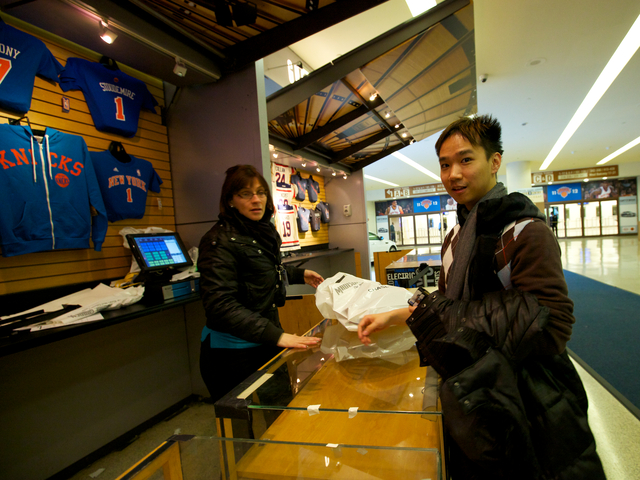 """I just woke up and ran right over here when [I found out] that the jerseys were available,"" said Allen Yu, 28, the first to buy the jerseys at the store. ""I watch sports but never a crazy fan. Never bought a jersey or any of such."""