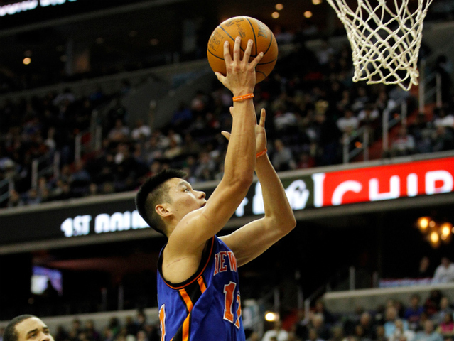 Knicks star Jeremy Lin shoots during a Feb. 8, 2012 game against the Washington Wizards.