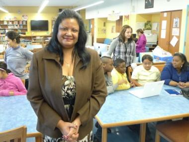 Principal Ivelisse Alvarez of P.S. 145, now called the Magnet School for Technology & Multimedia Communication.