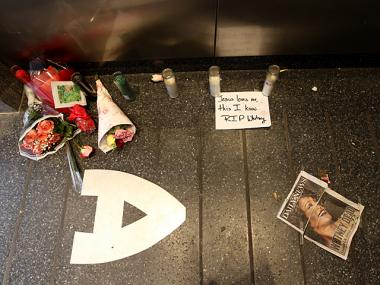 A shrine of flowers and notes at the Apollo Theater on Feb. 12, 2012 for Whitney Houston after her death.