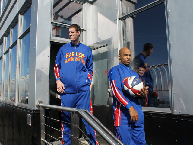 'Tiny' Sturgess and 'Flight Time' Lang enter the 86th Floor Observatory Deck at the Empire State Building.