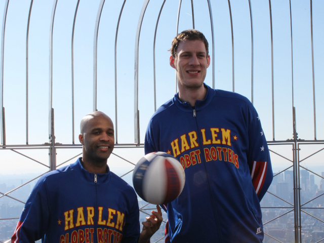 Herbert 'Flight Time' Lang and Paul 'Tiny' Sturgess on top of the Empire State Building.