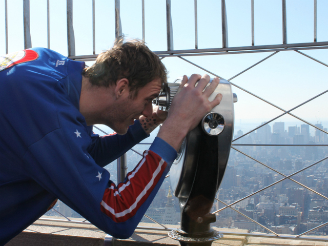 'Tiny' Sturgess takes in the view on top of the Empire State Building.