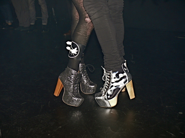 Metallic platforms worn by Mynxii White and James Joseph at the Brandon Sun show.