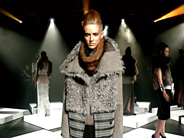 Alexandra in storm gray shearling, with reptilian lace trim and sable collar, at the Brandon Sun show.