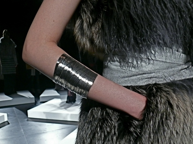 Cuff accessory from Brandon Sun worn by Yeon, made by Castro NYC for Brandon Sun.