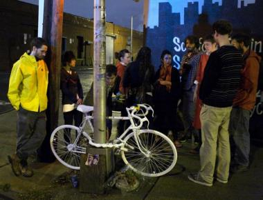 A ghost bike ceremony for Mathieu Lefevre, who was killed while riding his bike on October 18, 2011.