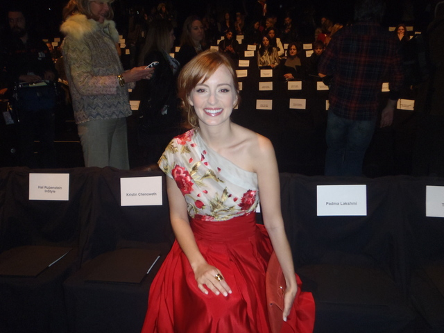 Vampire Diaries star Ahna O'Reilly at the Naeem Khan show.