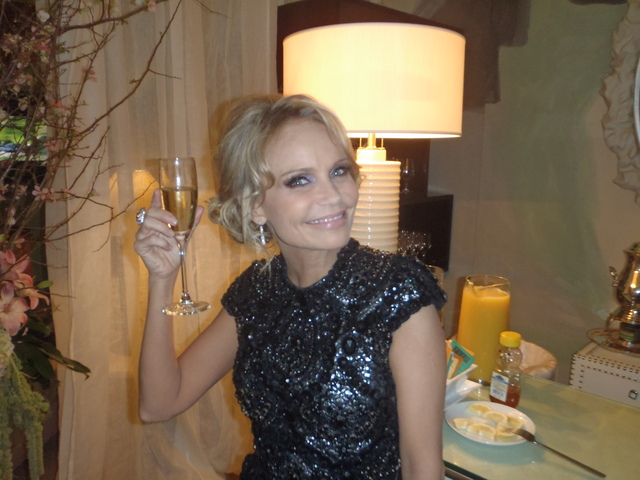 Kristin Chenoweth in the Mercedes Benz lounge at Lincoln Center during Fashion Week.