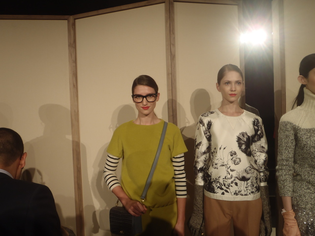 A Jenna Lyons lookalike model at the J. Crew show at Fashion Week.