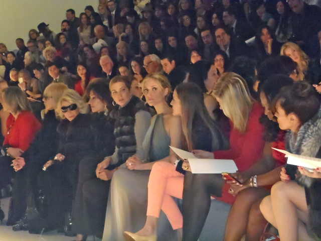 The front row at Dennis Basso, with Joan Rivers, Susan Lucci, Ivanka Trump, Kristin Cavalleri.